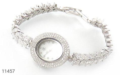 ساعت نقره آب رودیوم جواهرنشان زنانه - عکس 1