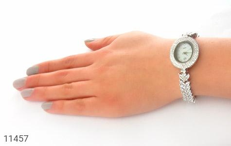 ساعت نقره آب رودیوم جواهرنشان زنانه - عکس 5
