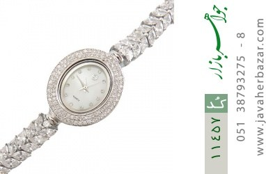 ساعت نقره آب رودیوم جواهرنشان زنانه - کد 11457