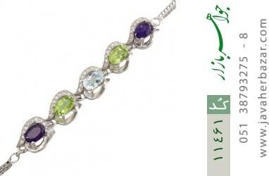 دستبند توپاز و زبرجد و آمتیست مجلسی طرح ملوی زنانه - کد 11461