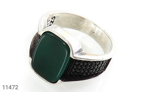 انگشتر عقیق سبز کلاسیک مردانه - عکس 1