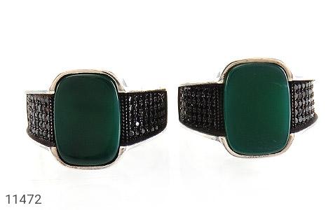 انگشتر عقیق سبز کلاسیک مردانه - تصویر 2