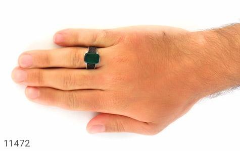 انگشتر عقیق سبز کلاسیک مردانه - عکس 7