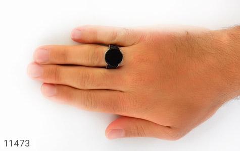 انگشتر عقیق سیاه میکروستینگ مردانه - عکس 7
