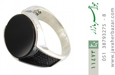انگشتر عقیق سیاه میکروستینگ مردانه - کد 11473