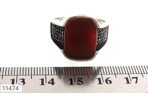 انگشتر عقیق قرمز طرح کلاسیک مردانه - تصویر 6