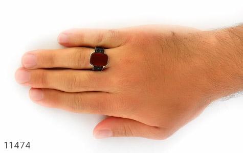 انگشتر عقیق قرمز طرح کلاسیک مردانه - عکس 7