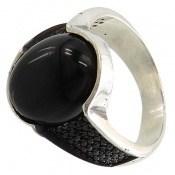 انگشتر عقیق سیاه میکروستینگ مردانه