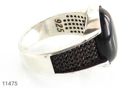 انگشتر عقیق سیاه میکروستینگ مردانه - عکس 3