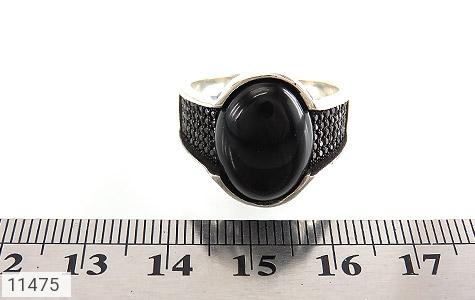 انگشتر عقیق سیاه میکروستینگ مردانه - تصویر 6