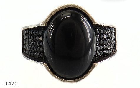 انگشتر عقیق سیاه میکروستینگ مردانه - تصویر 8