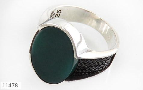 انگشتر عقیق سبز طرح کلاسیک مردانه - عکس 1