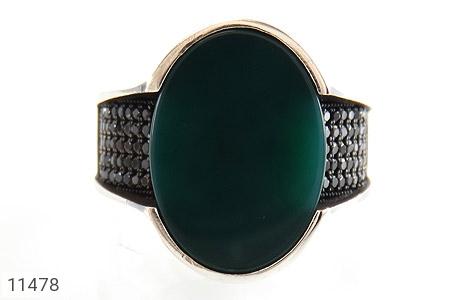 انگشتر عقیق سبز طرح کلاسیک مردانه - تصویر 2