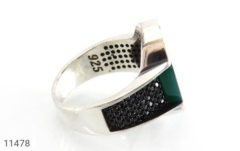 انگشتر عقیق سبز طرح کلاسیک مردانه - عکس 3