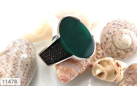 انگشتر عقیق سبز طرح کلاسیک مردانه - عکس 5