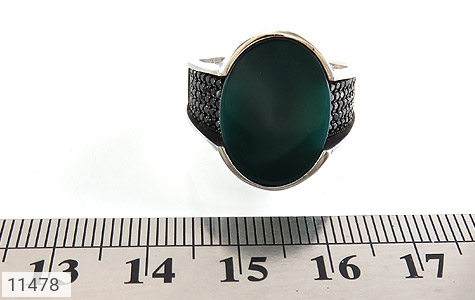انگشتر عقیق سبز طرح کلاسیک مردانه - تصویر 6