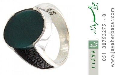 انگشتر عقیق سبز طرح کلاسیک مردانه - کد 11478