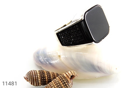 انگشتر عقیق سیاه طرح کلاسیک مردانه - عکس 5