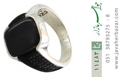 انگشتر عقیق سیاه اسپرت میکروستینگ مردانه - کد 11483