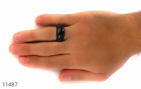 انگشتر عقیق سیاه حلقه سنگی - تصویر 10