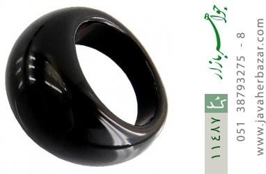 انگشتر عقیق سیاه حلقه سنگی زنانه - کد 11487