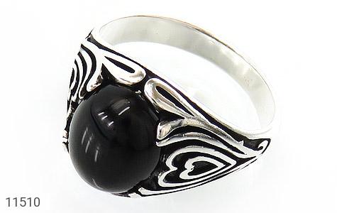 انگشتر عقیق سیاه جذاب مردانه - عکس 1