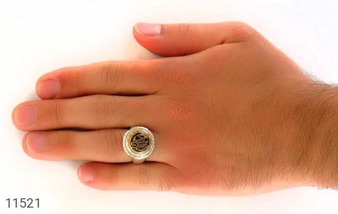 انگشتر نقره قلم زنی یا الله هنر دست استاد شرفیان - عکس 7