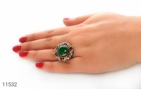 انگشتر جید درشت خوش رنگ زنانه - تصویر 6