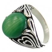 انگشتر عقیق سبز طرح قلب مردانه