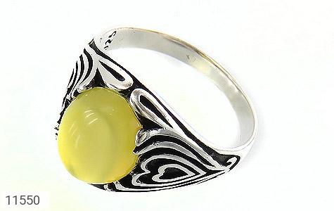 انگشتر عقیق زرد طرح قلب مردانه - عکس 1