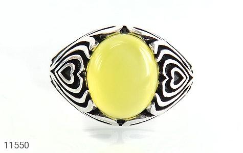 انگشتر عقیق زرد طرح قلب مردانه - تصویر 2