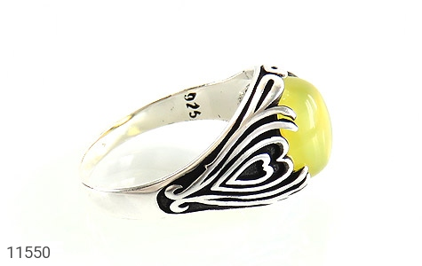انگشتر عقیق زرد طرح قلب مردانه - عکس 3
