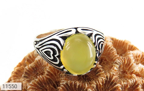 انگشتر عقیق زرد طرح قلب مردانه - عکس 5