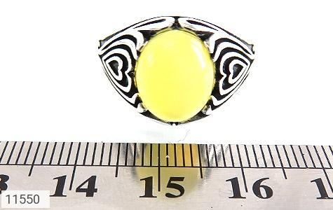انگشتر عقیق زرد طرح قلب مردانه - تصویر 6