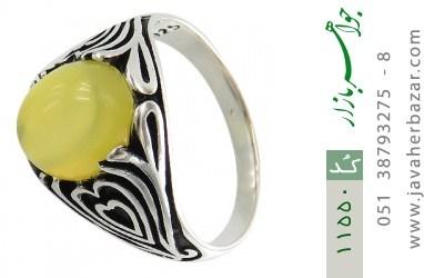 انگشتر عقیق زرد طرح قلب مردانه - کد 11550