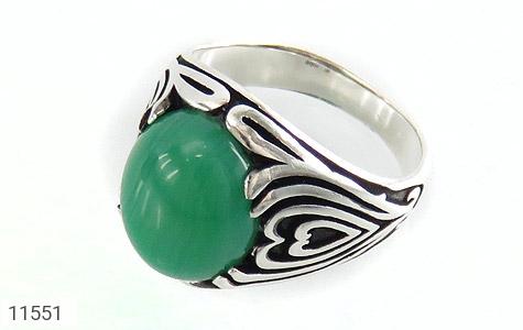 انگشتر عقیق سبز طرح قلب مردانه - عکس 1