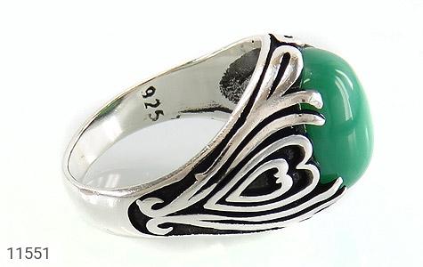 انگشتر عقیق سبز طرح قلب مردانه - عکس 3