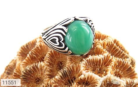 انگشتر عقیق سبز طرح قلب مردانه - عکس 5