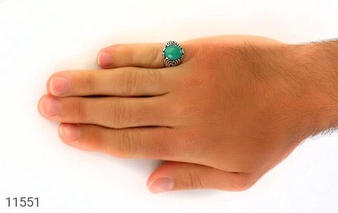 انگشتر عقیق سبز طرح قلب مردانه - عکس 7