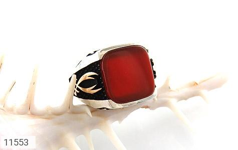 انگشتر عقیق قرمز درشت طرح ذوالفقار مردانه - عکس 5