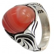 انگشتر عقیق قرمز طرح ابروبادی خاص مردانه