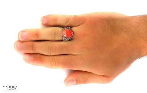 انگشتر عقیق قرمز طرح ابروبادی خاص مردانه - عکس 7
