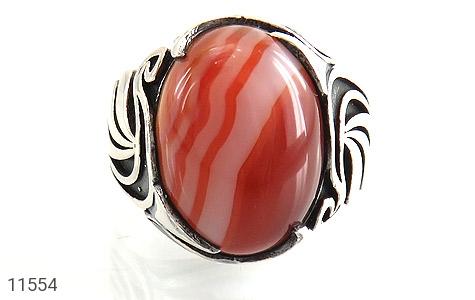 انگشتر عقیق قرمز طرح ابروبادی خاص مردانه - تصویر 8