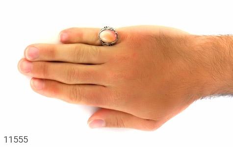 انگشتر عقیق زرد درشت طرح ابروبادی مردانه - عکس 7
