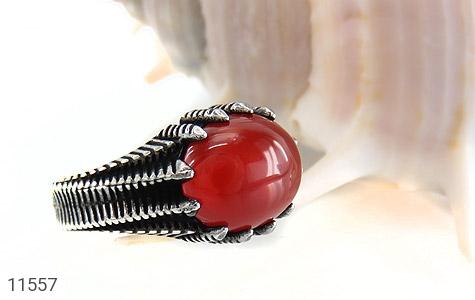 انگشتر عقیق قرمز خوش رنگ مردانه - عکس 5