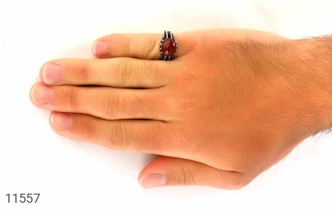 انگشتر عقیق قرمز خوش رنگ مردانه - عکس 7