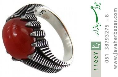 انگشتر عقیق قرمز خوش رنگ مردانه - کد 11557