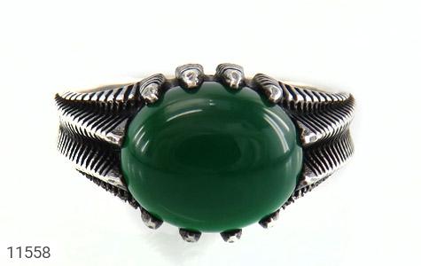 انگشتر عقیق سبز خوش رنگ مردانه - تصویر 2