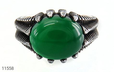 انگشتر عقیق سبز خوش رنگ مردانه - تصویر 8