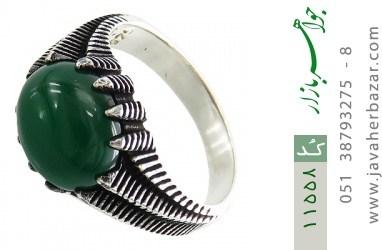 انگشتر عقیق سبز خوش رنگ مردانه - کد 11558